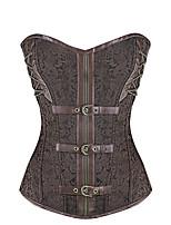 Для женщин Корсет под грудь Ночное белье Ретро Жаккард-Средний Спандекс Коричневый Женский