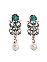 European Luxury Gem Geometric Earrrings Exaggerated Pearl Drop Earrings for Women Fashion Jewelry Best Gift