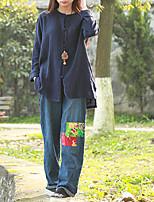 Chemise Femme,Couleur Pleine Décontracté / Quotidien Vintage Printemps / Automne Manches Longues Col Arrondi Bleu Coton / Lin Moyen