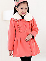 Girl's Casual/Daily Patchwork Down & Cotton Padded,Polyester Winter Pink / Red