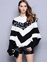Women's Going out / Casual/Daily Street chic Long Pullover,Striped Black Crew Neck Long Sleeve Acrylic Fall / Winter Medium Stretchy