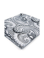 Mens Pocket Square Gray Paisley Handkerchief Business For Men