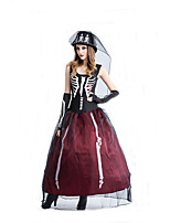 Cosplay Costumes Wizard/Witch / Skeleton/Skull / Vampire Movie Cosplay Black Solid Dress / Gloves / Hats Halloween / Carnival Female