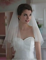 Wedding Veil Two-tier Blusher Veils / Elbow Veils Cut Edge Tulle