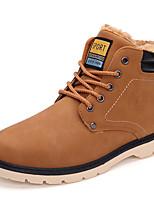 Желтый Серо-коричневый-Мужской-Для прогулок Повседневный-Синтетика-На толстом каблуке-Теплая зимняя обувь-Ботинки