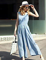 MASKED QUEEN   Women's Solid Blue JumpsuitsSimple Round Neck Sleeveless