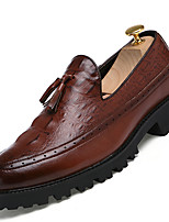 Men's Casual Leather Loafers Fshion Boots Slip-On Comfort Synthetic Casual Flat Heel Lace-up Black / Brown / Red