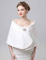 Women's Wrap Shawls Faux Fur / Imitation Cashmere Wedding / Party/Evening Button / Pattern / Rhinestone