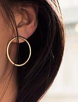 Women Fashion Simple Plain Vintage Alloy Circle Earrings 1pair