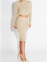 Women's Going out / Casual/Daily / Holiday Sexy / Simple / Street chic Fall / Winter Skirt Suits,Solid Turtleneck Long Sleeve Beige / Gray