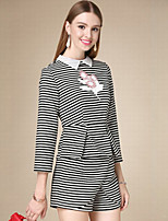 DOF Women's Casual/Daily Simple Fall Set SkirtStriped Crew Neck Long Sleeve Black Cotton Medium