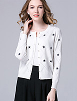 Hot SaleWomen's Casual/Daily Simple Regular CardiganGeometric Red / White / Black / Yellow / Purple Round Neck Long Sleeve Cotton Spring / Fall