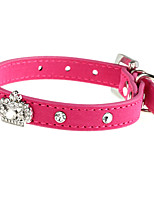 Cat / Dog Collar Adjustable/Retractable Solid Red PU Leather