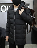 Men's Padded Coat,Simple Casual/Daily Solid-Cotton Cotton Long Sleeve Hooded Black
