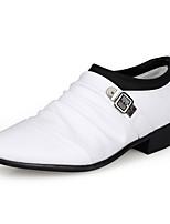 Черный Коричневый Белый-Мужской-Свадьба Повседневный Для вечеринки / ужина-Полиуретан-На низком каблуке-Удобная обувь-Туфли на шнуровке
