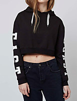 Women's Going out / Casual/Daily Simple / Street chic Short Hoodies,Letter Black Hooded Long Sleeve Cotton / Polyester Spring / Fall Thin