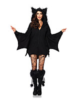 Cosplay Costumes Animal Bat Halloween Black Print Cotton Dress