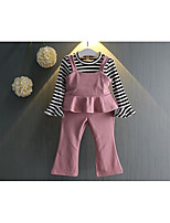 Girl's Casual/Daily Striped Tee / Overall & Jumpsuit / Clothing SetCotton Spring / Fall Pink / Purple
