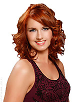 Short Curly Wave Brown and Yellow Mixed Color Synthetic Wigs for Women