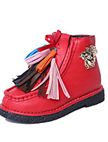 Girl's Boots Fall Winter Comfort Snow Boots PU Dress Casual Flat Heel Tassel Studded Black Red Walking