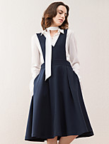 Women's Going out Vintage Swing Dress,Solid Strap Knee-length Sleeveless Blue Polyester / Spandex Winter High Rise Micro-elastic Medium