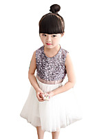 Girl's Casual/Daily Patchwork Dress,Cotton / Polyester Summer Silver