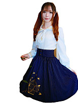 Skirt Sweet Lolita Lolita Cosplay Lolita Dress Blue / Wine Red Striped / Lace Sleeveless Medium Length Dress For Women Terylene