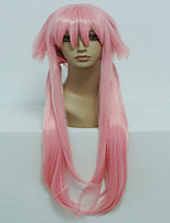 Anime The Future Diary Gasai Yuno 80cm Long Straight  Light Pink Cosplay  Wig  Halloween Costume Wig