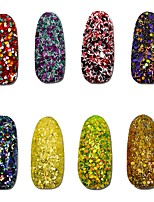 8pcs Different Colorful Cheese Sequins Nail Glitter Powder Dust Nail Art Decoration DIY Shining Craft Manicure SN17-24