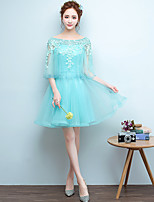 Short / Mini Tulle Bridesmaid Dress - Lace-up A-line Scoop with Appliques / Beading