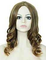 Long Wavy Hair Brown and Blonde Mixed Color Synthetic Wigs for Women