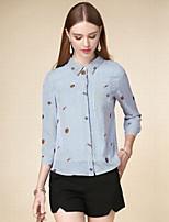 Chemise Femme,Rayé Décontracté / Quotidien simple Automne Manches Longues Col de Chemise Bleu Coton Moyen