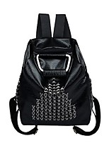 Women PU Casual Backpack Gray / Black / Fuchsia