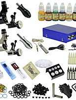 Ophir Black Sliver Two Color Motor Tattoo Machine Tattoo Kit with 7 Inks #TA067
