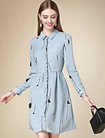 DOF Women's Casual/Daily Simple Shirt DressSolid Shirt Collar Knee-length / Above Knee Long Sleeve Blue Cotton Fall