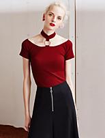 Tee-shirt Femme,Couleur Pleine Sortie simple Eté Sans Manches Licou Rouge / Blanc / Noir Coton Moyen