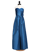 2017 Lanting Bride® Floor-length Taffeta Junior Bridesmaid Dress Sheath / Column Sweetheart with Flower(s) Criss Cross
