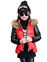 Girl's Casual/Daily Patchwork Down & Cotton Padded,Cotton Winter Orange / Red