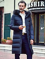 Пальто Простое Длинная Пуховик Мужчины,Однотонный На каждый день Полиэстер Пух белой утки,Длинный рукав Капюшон Синий