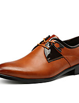 Черный / Коричневый / Белый-Мужской-На каждый день-Полиуретан-На плоской подошве-Удобная обувь-Туфли на шнуровке