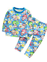 Boy's Casual/Daily Print Clothing Set / SleepwearCotton Spring / Fall Blue / Pink / Yellow