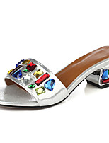 Women's Sandals Summer Comfort Leather Casual Chunky Heel Crystal Blue / Red / Silver Others