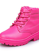 Girl's Boots Fall Winter Comfort Leatherette Dress Casual Flat Heel Zipper Black Yellow Pink Peach Walking