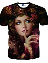 Masculino Camiseta Happy-Hour / Praia / Férias Simples / Boho / Activo Primavera / Verão,Estampado Preto Poliéster Decote RedondoManga