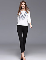 Women's Casual/Daily Simple Spring / Fall T-shirt Pant Suits,Patchwork Round Neck ¾ Sleeve White Cotton / Polyester Medium