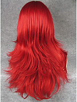 IMSTYLE22''Heat Resistant Cospay Red Long Straight Synthetic Machine Wigs Can Be Curlyed