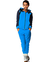 Women's Casual/Daily / Sports Sexy / Simple / Active Fall / Winter Set PantColor Block Hooded Long Sleeve Blue Cotton