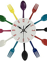 1PC Modern Chromatic Cutlery Kitchen Wall Clock Spoon Fork Creative Mirror Wall Stickers Mechanism New Design Home Decor