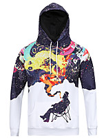 Men's Casual/Daily Simple Hoodie Leopard Round Neck Micro-elastic Polyester Long Sleeve Fall