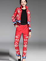 Pantalon Costumes Femme,Broderie Décontracté / Quotidien Chinoiserie Automne / Hiver Manches Longues Col Roulé Bleu / Rouge / Vert